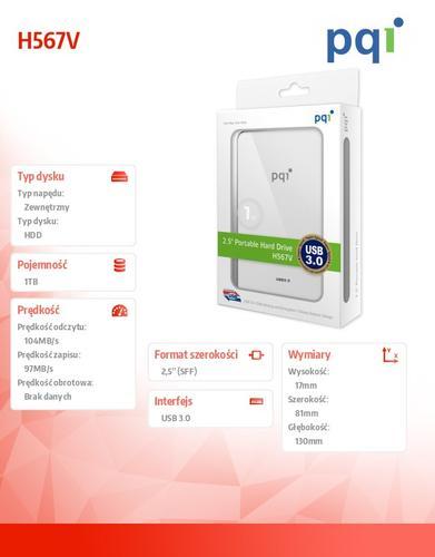 """PQI DYSK ZEWNĘTRZNY 2,5"""" 1TB BIAŁY USB3.0 H567V"""