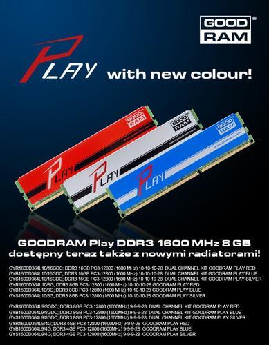 GoodRam DDR3 PLAY 8GB/1600 Srebrny