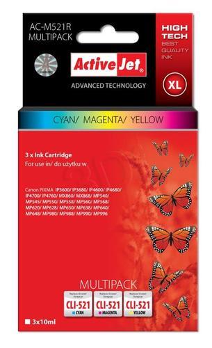 ActiveJet AC-M521R multipack tusz cyan, magenta, żółty do drukarki Canon (zamiennik Canon CLI-521) Premium/ chip