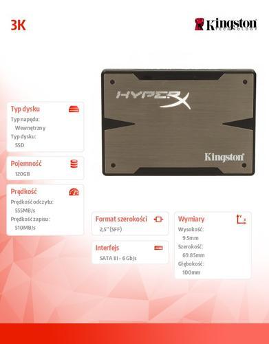 "Kingston HyperX 3K SERIES 120GB SATA3 2,5""+adapter 3,5"" 555/510MB/s 9,5mm + bundle kit"