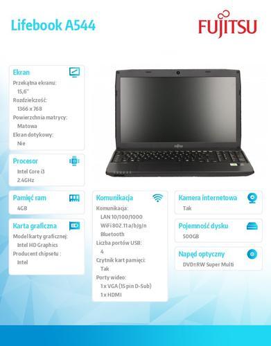 Fujitsu Lifebook A544 W8P/7 i3-4000M/4GB/500GB/DVDSM VFY:A54