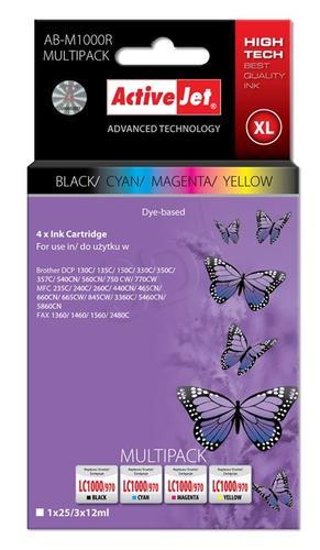 ActiveJet AB-M1000R multipack tusz czarny, cyan, magenta, żółty do drukarki Brother (zamiennik Brother LC1000, LC970) Premium