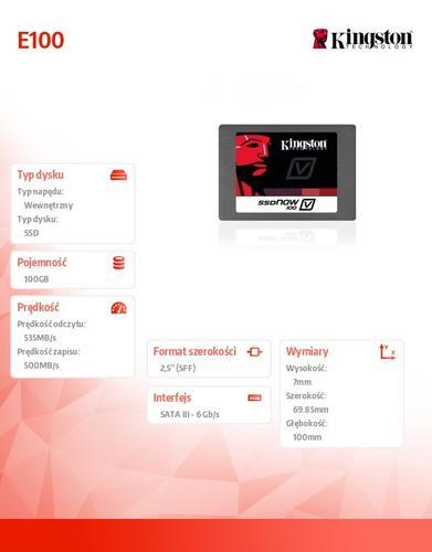 Kingston SSD E100 SERIES 100GB SATA3 2.5' Server