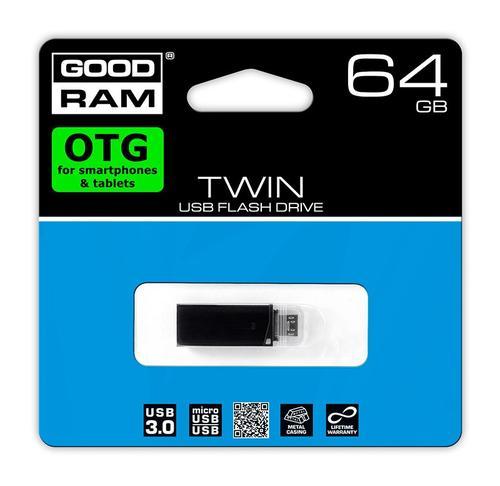 GoodRam TWIN 64GB USB3 /microUSB OTG BLACK