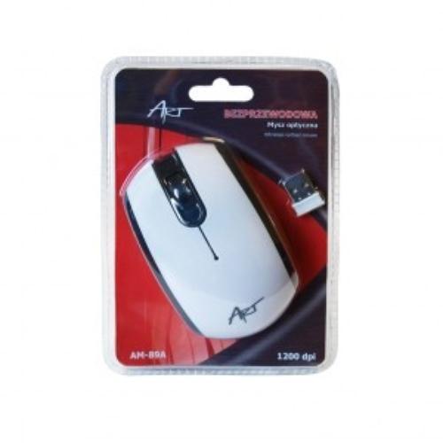 ART Mysz bezprzewodowo-optyczna AM-89A biało-czarna