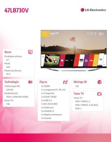 LG 47'' LED TV 47LB730 FHD/DVB-T2CS2/MCI800