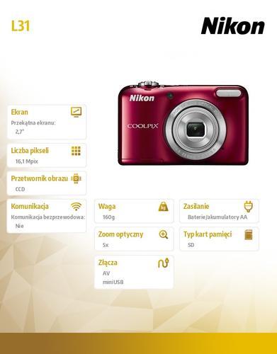 Nikon Coolpix L31 16,1M 5xOZ, 720p czerwony