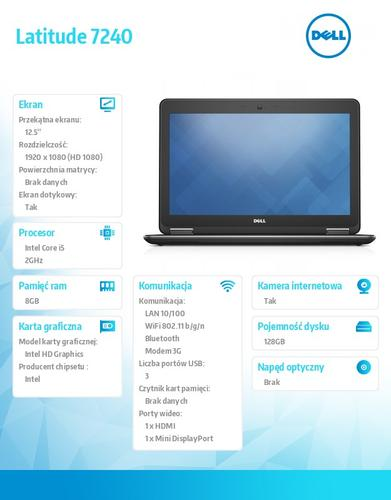 Dell Latitude E7240 W78.1P (lic 64-bit Win8, nosnik) i5-4310U/128SSD/8GB/HD4400/4cell/12,5 FHD Touch/Backlit/3Y NBD