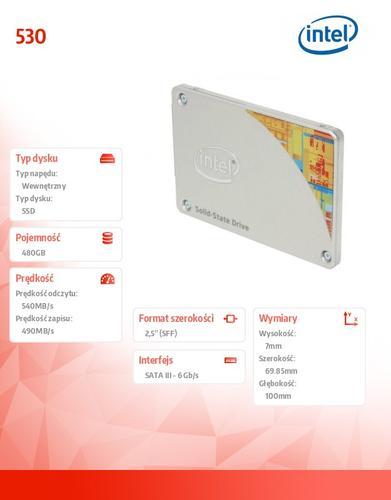 Intel 530 480GB SATA3 2,5' 540/490 MB/s 7mm Single Pack