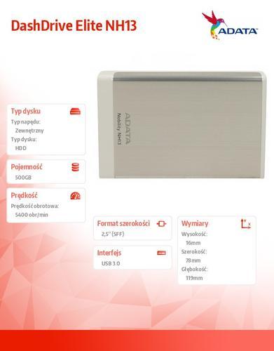 "A-Data DashDrive Elite NH13 500GB 2.5"" USB3.0 srebrny"