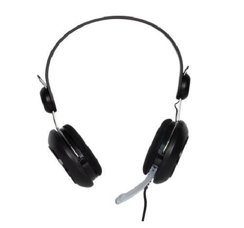 4World Słuchawki kabel 2,2m mikrofon czarne