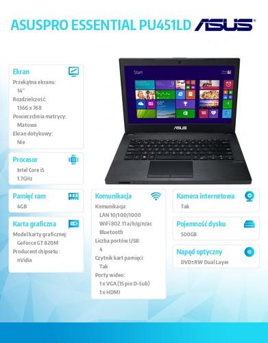 "Asus ASUSPRO ESSENTIAL PU451LD-WO081G Win8.1 Pro DP i5-4210U/4GB/500GB/GF820 (N15V-GM)/8DL/14.0"" HD AG Dark Gray"