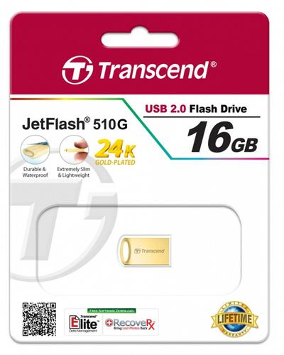 Transcend JETFLASH 510 16GB USB2 GOLD Metallic/Waterproof/Small