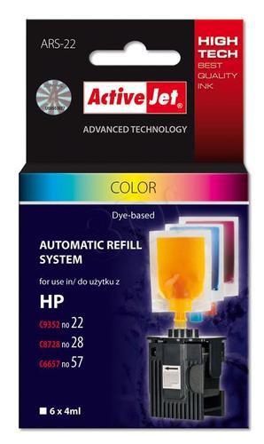 ActiveJet automatyczny system napełniania ARS-22 trójkolorowy do HP 22/28/57 6x4ml