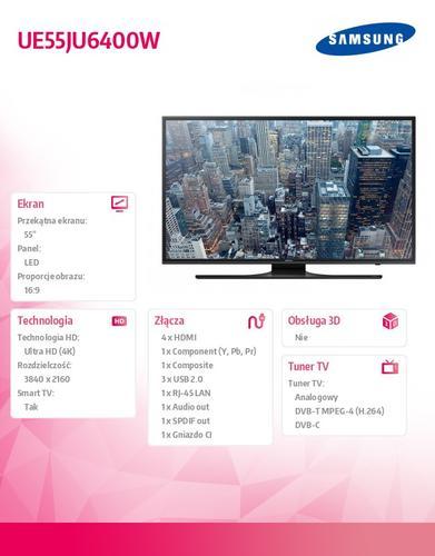 "Samsung 55"" TV Slim LED Ultra HD UE55JU6400WXXH"