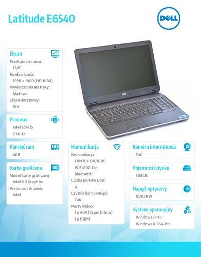 Dell Latitude E6540 Win78.1Pro(64-bit win8, nosnik) i5-4310M/500GB/4GB DVD+/-R