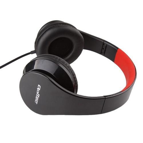 Qoltec Słuchawki nauszne - mikrofon   czarno-czerwony   składane