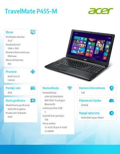 """Acer TravelMate P455-M-54208G50MAKK i5-4200U/15.6""""/8GB/500GB/Intel HD/ DVD SM DL/4c/BT,TPM, Fingerprint reader/W7Pro (W8.1Pro)ED"""