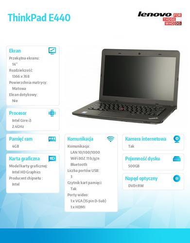 """Lenovo ThinkPad E440 20C5A03LPB Win7Pro&Win8.1Pro i3-4000M/4GB/500GB/Intel HD/DVD Rambo/6c/14.0"""" HD AG Midnight Black (No WWAN)/1YR CI"""