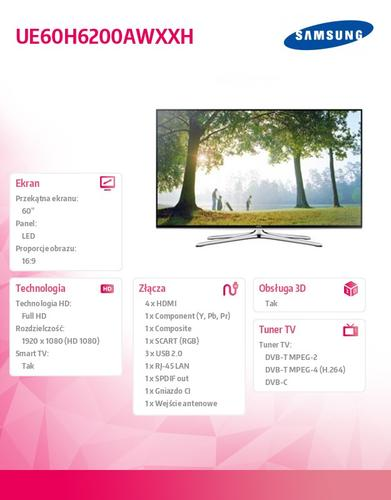 Samsung 60'' TV Slim LED Full HD UE60H6200AWXXH