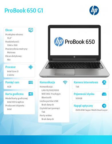 HP 650 G1 i3-4000 W7/8P 500/4G/DVRW/15,6 H5G74EA