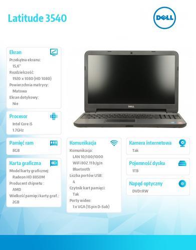 Dell Latitude 3540 Ubuntu i5-4210U/1TB/8GB/HD 8850M/15FHD/6Cell/3YNBD