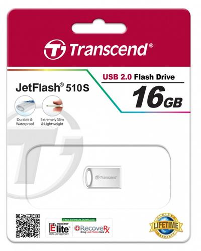 Transcend JETFLASH 510 16GB USB2 SILVER Metallic/Waterproof/Smal l