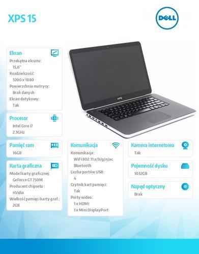 """Dell XPS 15 Touch Win8.1Pro(64Bit) i7-4712HQ/16GB/1TB+32GB mSATA SSD/GT750M 2GB/6cell/15.6"""" QHD+ Truelife/2Y CAR"""