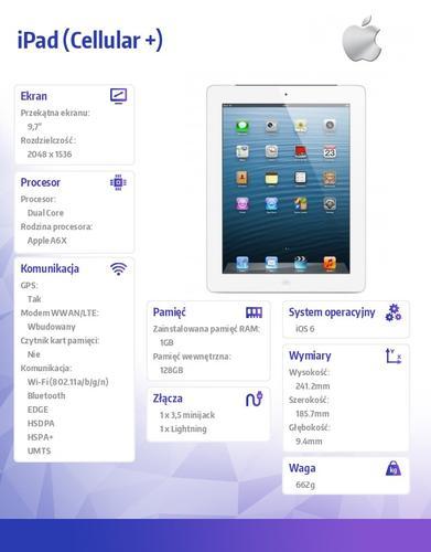 Apple iPad z wyświetlaczem Retina Wi-Fi + Cellular 128GB White
