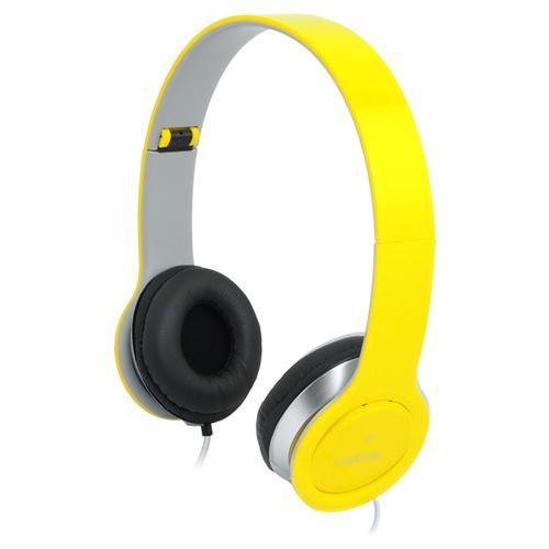 LogiLink Stylowe słuchawki stereo z mikrofonem, zółte