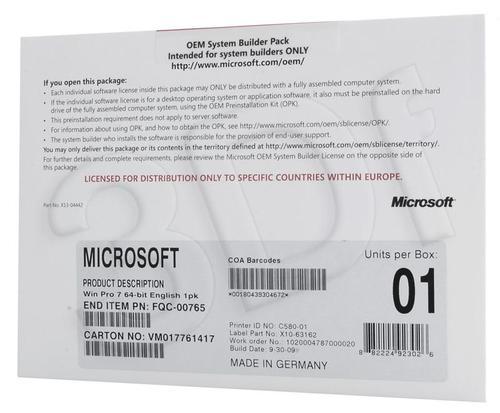 Microsoft Windows 7 Pro 64-bit English 1pk DVD OEM