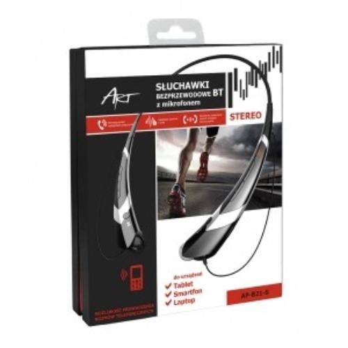 ART Słuchawki z mikrofonem AP-B21 czarne/srebrne (RING)sport
