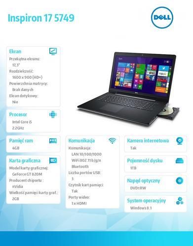 """Dell INSPIRON 17 5749 Win8.1(64Bit) i5-5200U/1TB/4GB/GF820M 2GB/4-cell/8xDVD+/-RW/BT 4.0/17.3"""" HD+ Truelife/Silver/2Y DND"""