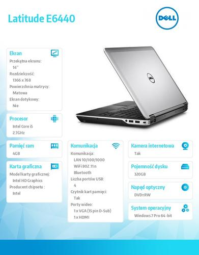 """Dell Latitude E6440 Win7Pro i5-4310M/320GB/4GB/BT 4.0/6-cell/Office 2013 Trial/DVD+/-RW/Integrated HD4600/KB-Backlit/14.0""""HD/3Y NBD"""